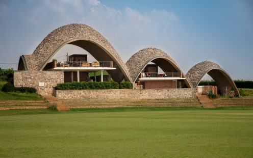 "Rwanda Cricket Stadium; Brick Award 2018 Category""Building Outside The Box""; Architects: Light Earth Designs, Photo:  Light Earth Designs"